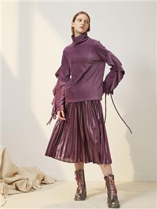 菀草壹紫色绒面上衣