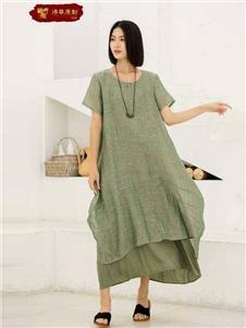 栀子花开绿色连衣裙