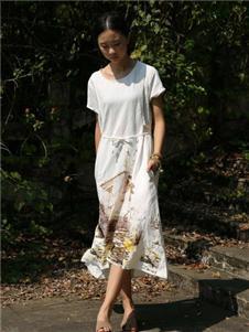 栀子花开白色连衣裙