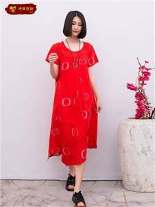 栀子花开红色连衣裙