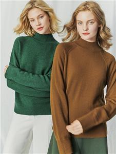 哥弟女装哥弟女装绿色高领针织衫