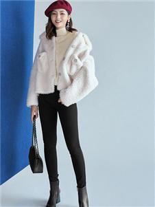 哥弟女装哥弟女装白色羊羔绒外套