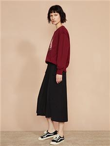 F/SHiNE方示新款酒红色卫衣