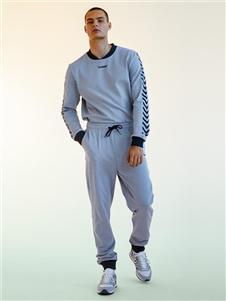 Hummel秋冬新款银灰色套装