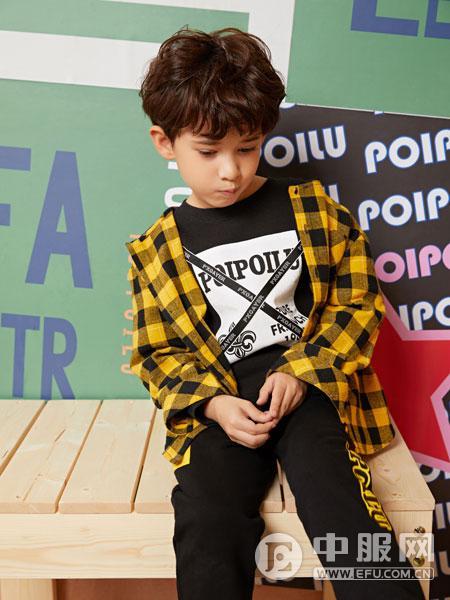 poipoilu(泡泡噜)童装时尚纯棉格子衬衫