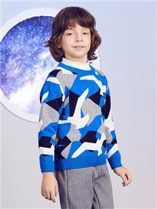 安奈儿童装几何形毛衣