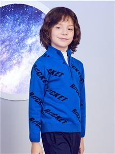 安奈儿童装蓝色套头衫