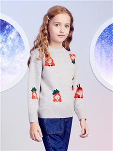 安奈儿童装藕色毛衣
