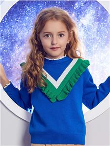 安奈儿童装蓝色毛衣