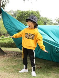 小猪宾果童装洋气韩版宽松加厚加绒带帽卫衣