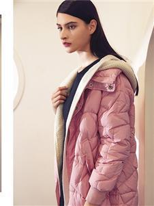 布卡慕尚女装新款粉色羽绒服