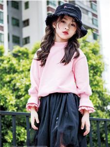 快乐精灵童装新款粉色卫衣