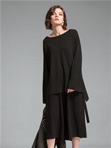 主章女装黑色休闲上衣