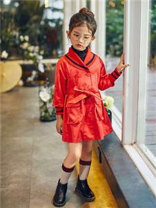 童品壹倉童裝新款紅色大衣