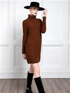 希区瑞普女装咖色针织连衣裙
