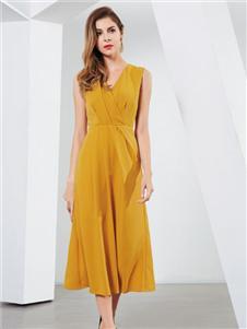 彌妖女裝黃色連衣裙