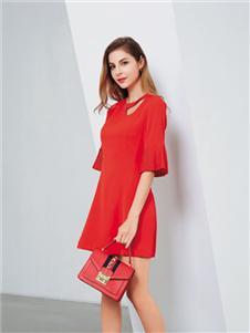 彌妖女裝紅色連衣裙
