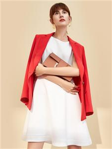 朗蔻秋冬新款红色外套