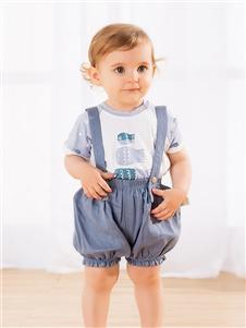 麦拉贝拉童装蓝色吊带裤