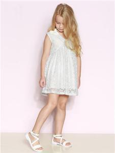 时尚小鱼童装时尚小鱼白色连衣裙