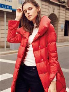 幻彩四季女装红色羽绒服
