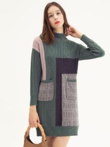 范劳伦女装品牌 拼接毛衣