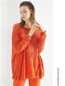 谷可橘色花纹针织上衣