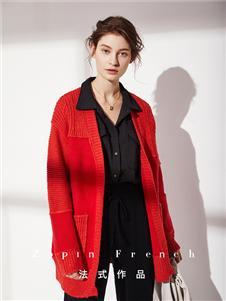 作品女装红色针织衫外套