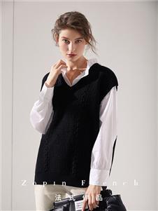 作品女装黑色针织衫马甲