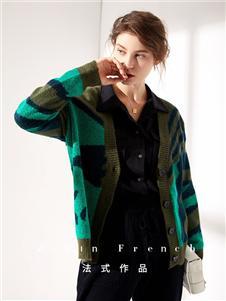 作品女装条纹针织衫外套