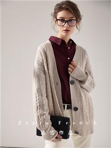 作品女装灰色短款针织衫