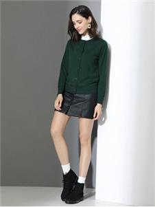 雅意娜菲女装绿色针织外套