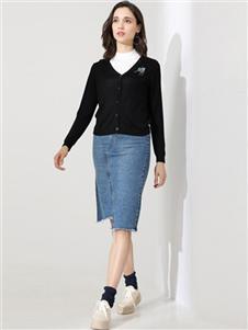 雅意娜菲女装黑色针织外套