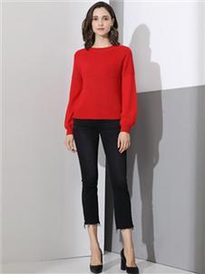 雅意娜菲女装红色针织衫