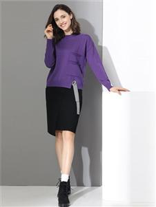 雅意娜菲女装紫色针织衫