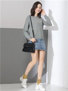 雅意娜菲女装灰色打底针织衫