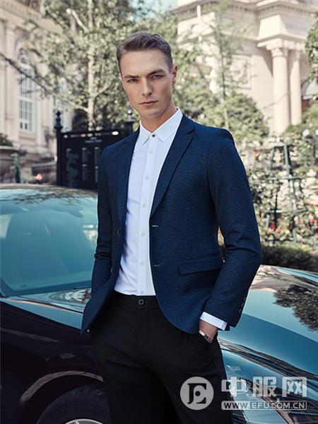 贝克狮丹男装蓝色西装外套