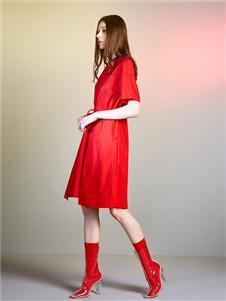 五秒女装五秒女装红色连衣裙