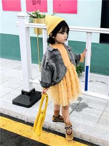 维尼叮当童装春款黄色公主裙
