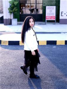 快乐丘比童装黑色纱裙