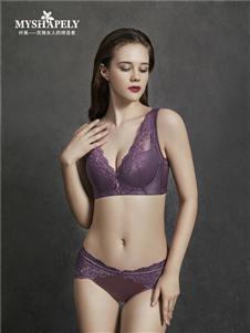 纤美内衣紫色内衣套装