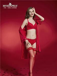 纤美内衣红色内衣套装