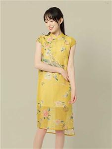 東景記女装斜襟短袖宽松旗袍长款过膝中式民国风短袖直筒印花连衣裙