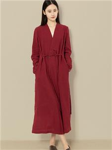 東景記女装纯棉文艺茶服长款假两件系带V领女款外套连衣裙
