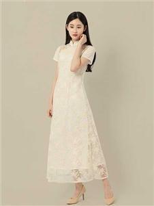 東景記女装立领双层短袖镂空蕾丝改良旗袍中式优雅收腰长款连衣裙
