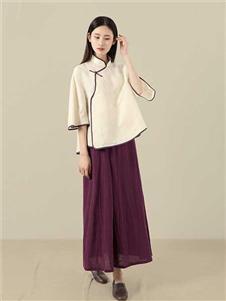 東景記女装中袖斜襟立领衬衣民国风宽松现代版改良款上衣