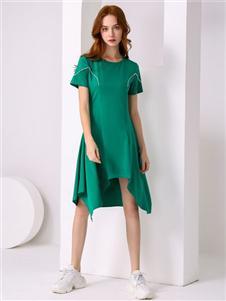 尚来女装新款绿色连衣裙