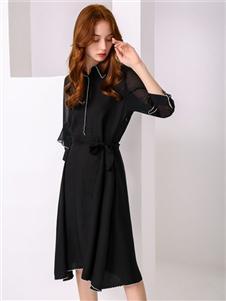 尚来女装新款黑色连衣裙