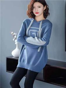 播写女装蓝色卫衣