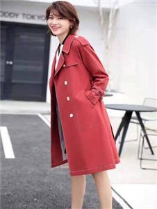 播写女装红色大衣